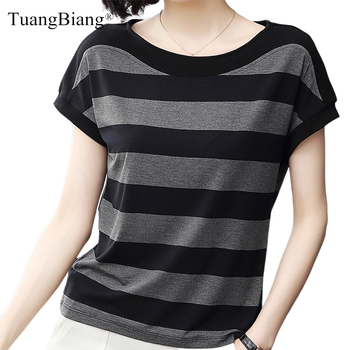 Cotton Black Striped Women Summer Loose T-Shirts 2020 Female Plus Size Short Sleeve Casual O-Neck Modal T Shirt Ladies Soft Tops