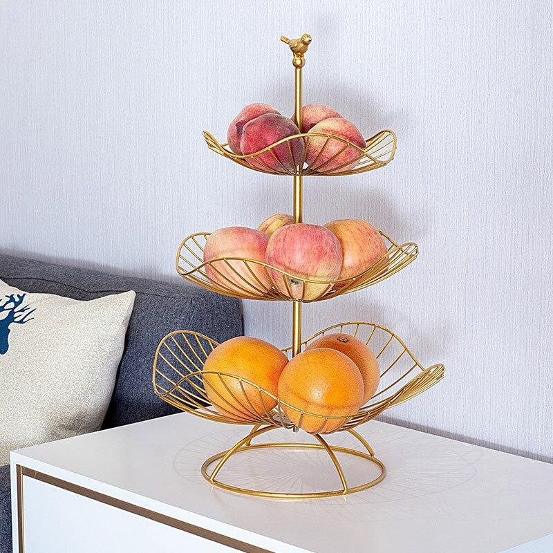 Лоток для фруктов в скандинавском стиле, бытовой трехуровневый поднос для фруктов в гостиной, современная простая изысканная многослойная ...