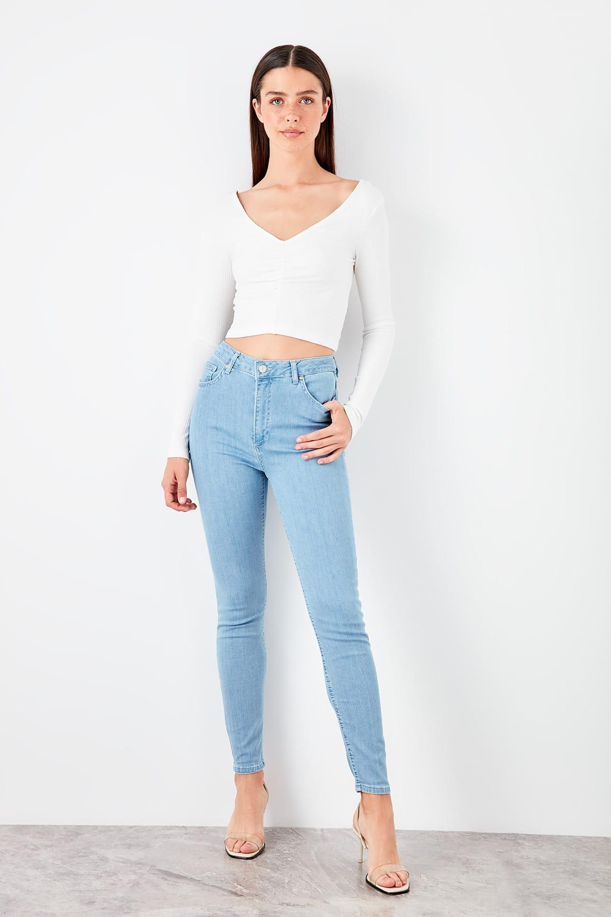 Trendyol Blue High Waist Skinny Jeans TWOAW20JE0032