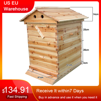 Automatic Wooden Bee Hive House Wooden Bees Box Beekeeping Equipment Beekeeper Tool for Bee Hive Supply 66*43*26cm High Quality automatic beekeeping box house wooden bee hive house beekeeping equipment beekeeper tool smart wooden hives frames kit bee tools