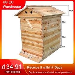 Automatique en bois abeille ruche maison en bois abeilles boîte apiculture équipement apiculteur outil pour abeille ruche approvisionnement 66*43*26cm de haute qualité