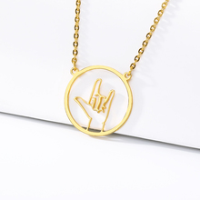 2019 new necklace I love you round network couple birthday gift BFF stainless steel gold jewelry
