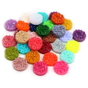 New 8mm 10mm 12mm 40pcs/Lot Colorful Natural Ore Flat Back Resin Cabochons For Bracelet Earrings DIY Jewelry Making Accessories