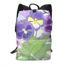 NOISYDESIGNS Custom Bag Women Girls Floral Pansies Pattern Shoulder Bookbags Flowers Bag Travel Backpack Mochila Feminina