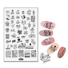 Plantilla Placa de estampado tamaño grande alfabeto letras ruso frase póquer Vintage flor amor labios uña herramienta 14,5*9,5 cm MezerdooD05