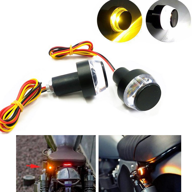 Yaootely 2X Motorcycle Turn Signal Light Yellow White Moto Handle Lamp Handle Bar End Indicator