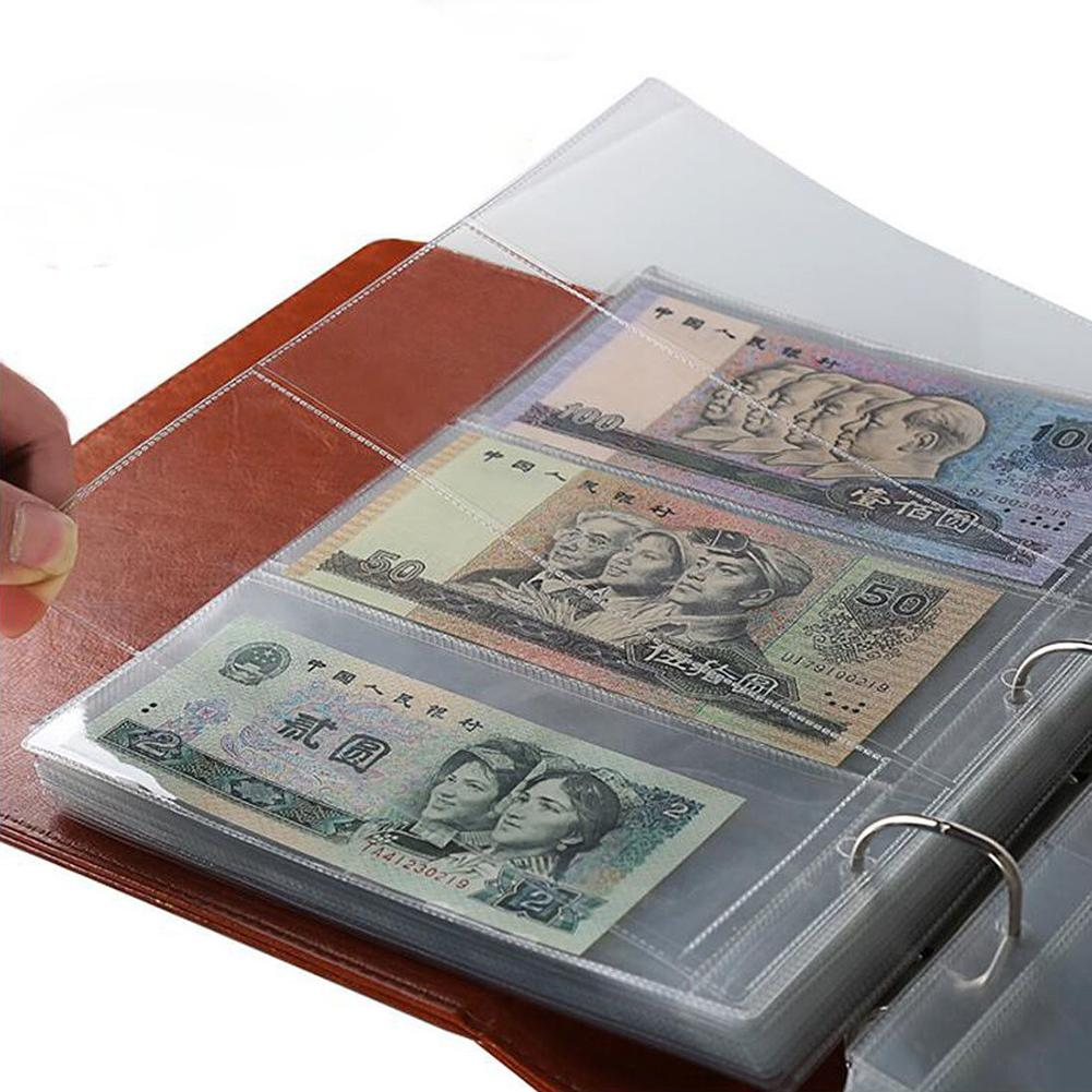 Hot Sell 10Pcs Money Banknote Paper Money Album Page Collecting Holder Sleeves 3-slot Loose Leaf Sheet Money Album Protection image