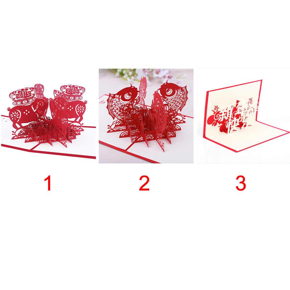 15x15 см китайские персонажи выдолбленные Красный поросенок поздравительная открытка Новогодняя бумага резьба ажурная благодарность благоприятный вверх 3D