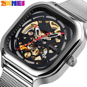 цена на SKMEI Men Mechanical Watches Automatic Self-Wind Golden Transparent Fashion Mesh Steel Wristwatch Square Skeleton Wrist Watch