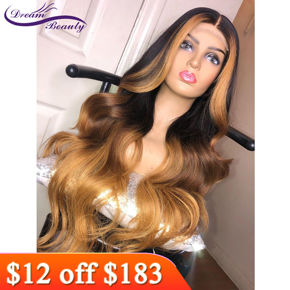 Dream Beauty Ombre Black With Honey Blonde Highlights Human Hair 13X6 Lace Frontal Wig Brazilian Remy Wavy  Human Hair Wigs