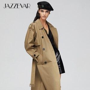 Image 3 - جديد لعام 2020 من jazevar معطف خريفي للنساء من القطن المغسول طويل مزدوج الصدر ملابس فضفاضة عالية الجودة 9013 1