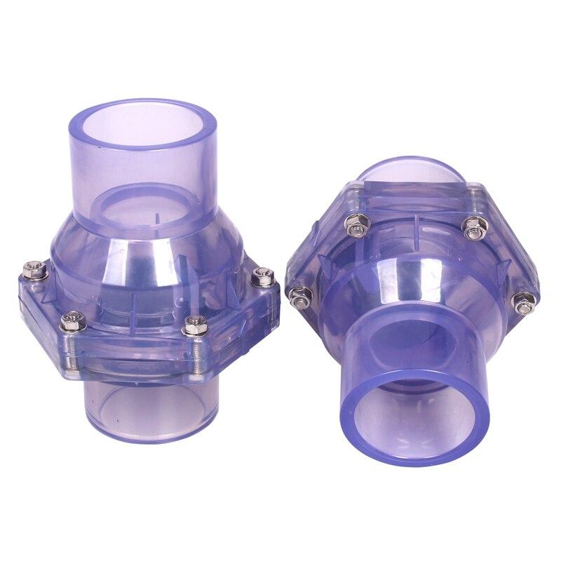 Ev ve Bahçe'ten Bahçe su konnektörler'de ID 40 50 63mm yüksek kaliteli şeffaf UPVC Flap çek valf kanalizasyon koku giderme çek valf endüstriyel su borusu konnektörleri title=