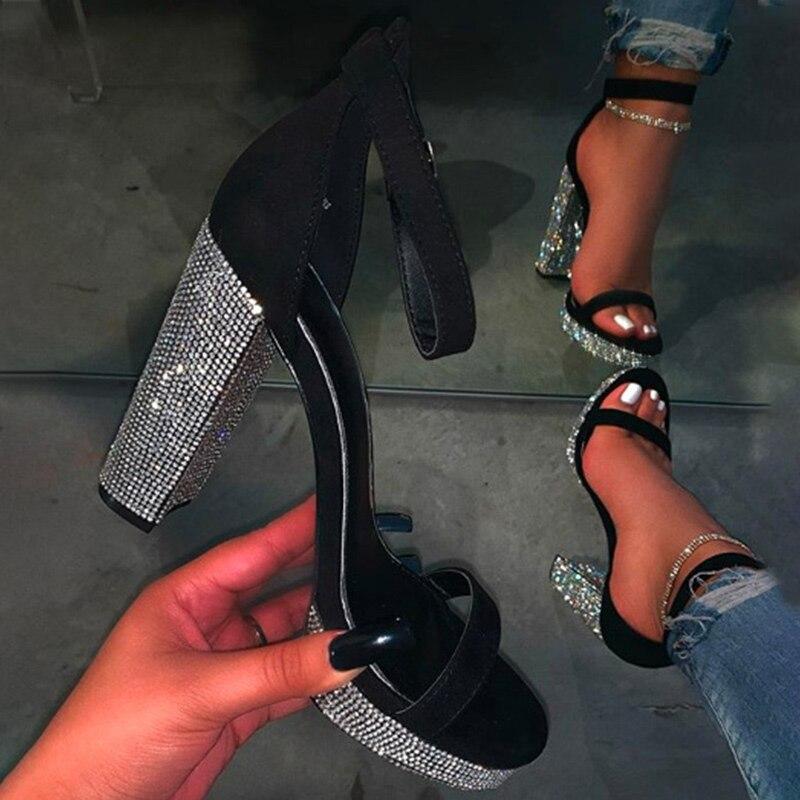 Women Gold Bling High-heeled Platform