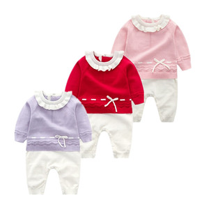 Image 1 - 신생아 가을 니트 Romper 아기 소녀 아기 옷 긴 소매 jumpsuituits 복장 3 캔디 색상 뜨개질 유아 의상