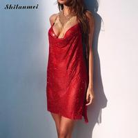 Hollow Out Sexy Deep V Neck Red Dress Female Halter Summer Sequin Dress Side Slit Mini Backless Club Style Women Party Vestidos