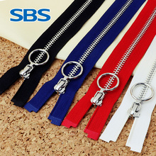 SBS sewing accessories square tooth open metal zipper accessories case bag jacket zipper long style Top grade windbreake zipper