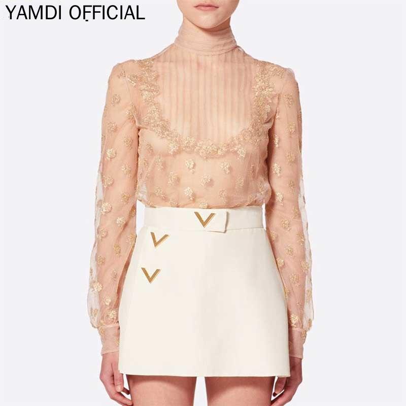 YAMDI femmes broderie à manches longues dentelle pure maille hauts Chic Sexy automne Blouse élégant mode piste femme dames Floral Fema
