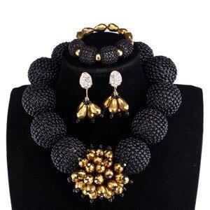Dudo Store женский ювелирный набор из черных и золотых шаров, ювелирный набор с браслетом, серьгами, ожерельем, дизайнерским колье, нигерийская с...