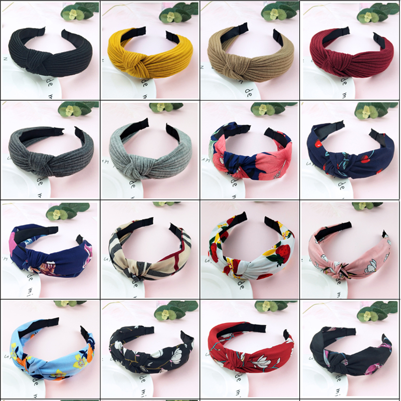 Lady Hair Hoop Top Knot Turban Headband Elastic Hairband Hair Accessories For Girls No Slip Stay On Knotted Head Band Hair Band