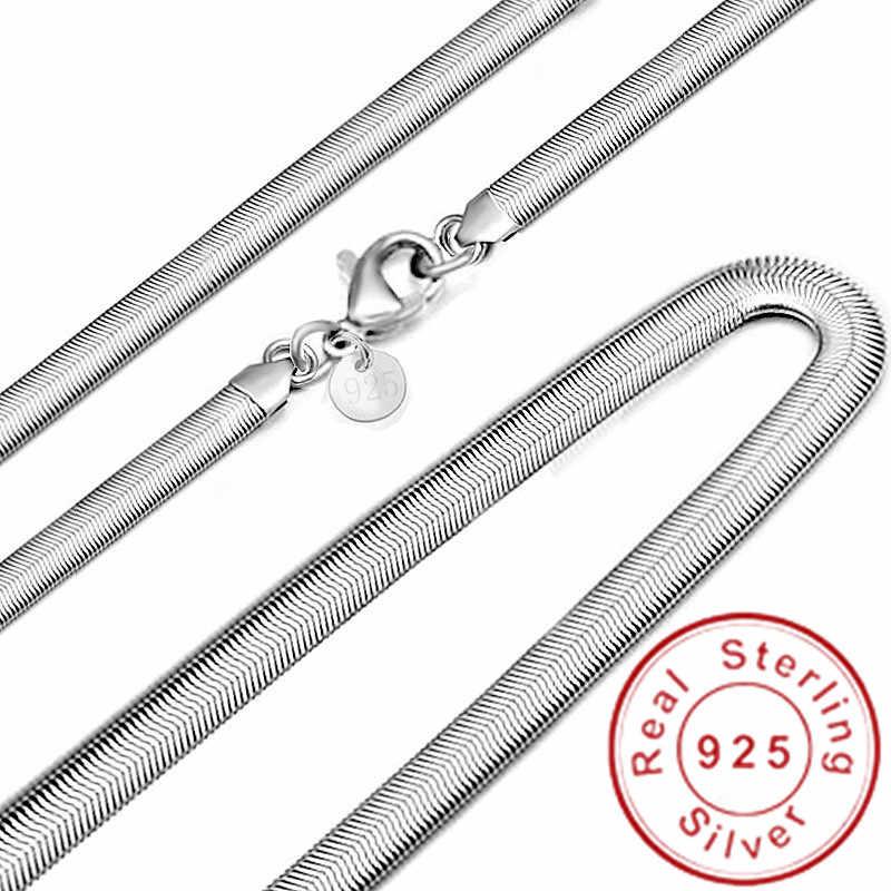Moda 6MM 925 Sterling silver miękki łańcuszek wężykowy z kości naszyjnik dla kobiet i mężczyzn biżuteria gładki naszyjnik łańcuch ślubny