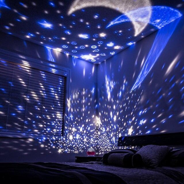 Linson 3 Colors LED Rotating Projector Starry Sky Night Lamp Romantic Projection Light Moon Sky Romantic Night Light Novelty