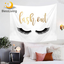 BlessLiving Golden Tapestry Eyelash Black and White Home Decor Wall Hanging for Living Room Bedroom Letters Print Bed Sheets