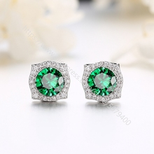 Round Cut zircon CZ Earrings white gold color plated Bridesmaid Stud Earrings Simulated dia-mond Earrings Halo CZ earrings