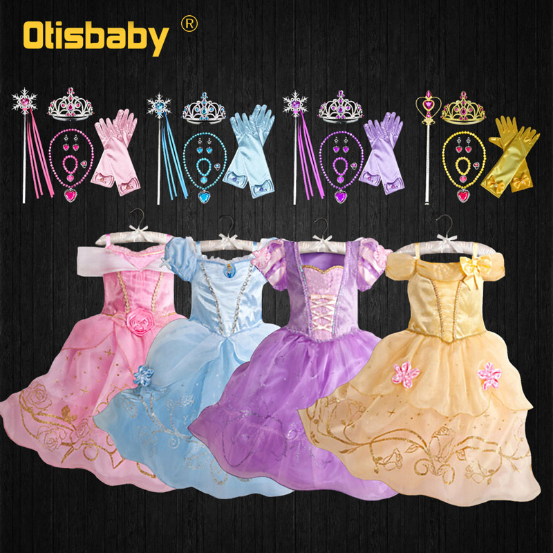 Baby Girls Princess Dress Fantasia Cinderella Aurora Belle Rapunzel Sofia Dress Up Kids Halloween Fancy Fairy Costume Christmas