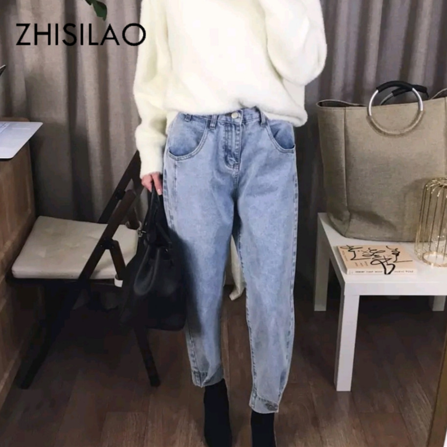 High Waist Harem Women Jeans Vintage Denim Pants Boyfriend Street Mom Jeans Casual Retro Blue Jeans Mujer Loose 2019