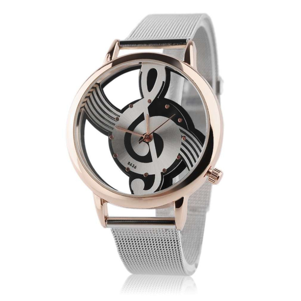Fashion Watches Hollow Out Music Note Pattern Stainless Steel Mesh Strap Analog Quartz Wristwatch Musical Note Shape Dial
