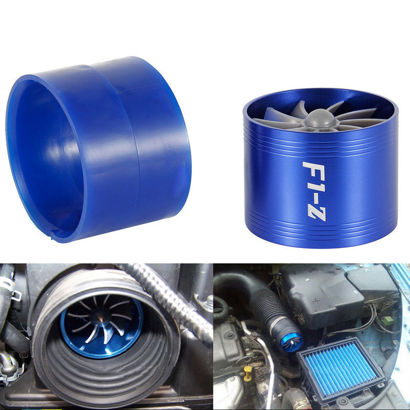 Image 2 - Car Turbine Supercharger F1 Z Turbo Charger Single Double Air Filter Intake Fan Fuel Gas Saver Kit Auto Replacement Part-in Air Intakes from Automobiles & Motorcycles