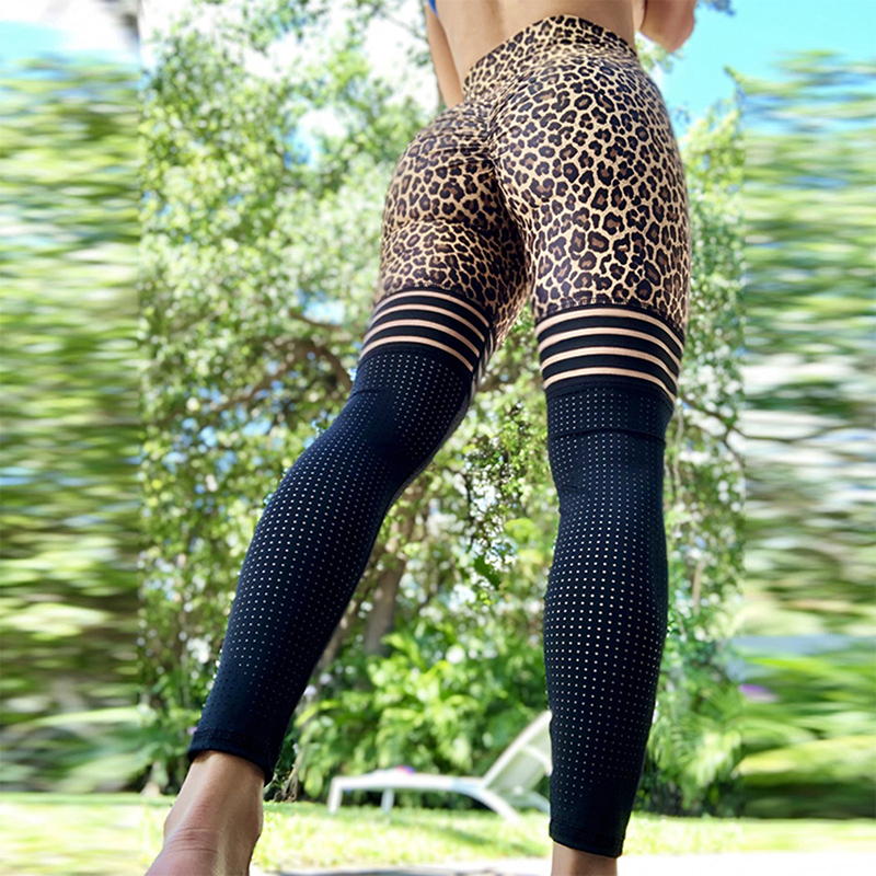 Women Leggings Transparent Leopard Print Leggings Exercise Fitness Patchwork Push Up Female Pants