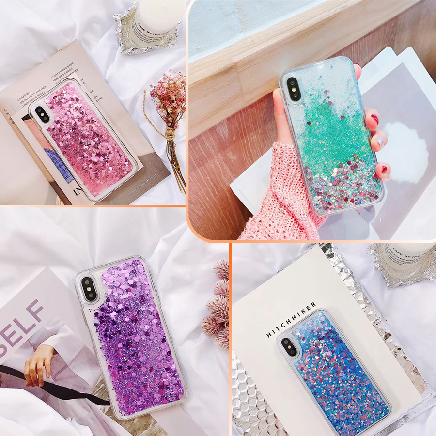 Glitter Quicksand Case for <font><b>Oppo</b></font> <font><b>F11</b></font> <font><b>Pro</b></font> F9 F7 F5 F3 F1 Plus F1S A7X Reno 2 2Z Realme X 3 <font><b>Pro</b></font> K3 Dynamic Liquid Case Cover image