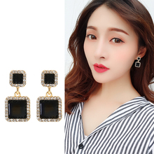 FSUNION 2019 New Statement Earrings Gold Color Black Square Geometric For Women Crystal Luxury Wedding Rhinestone