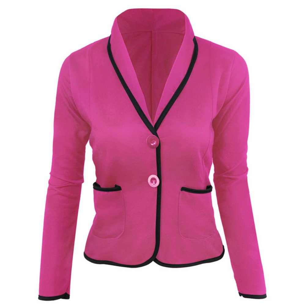 オフィスレディ秋無地ラペル襟ボタンポケットショートブレザージャケット女性ファッション長袖コート