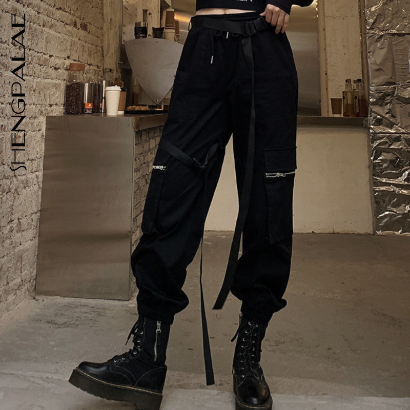 SHENGPALAE 2020 New Spring Vintage Patchwork Joggers Sweatpants Harajuku Woman Trousers Elastics Joker High Waist Pants ZA2565