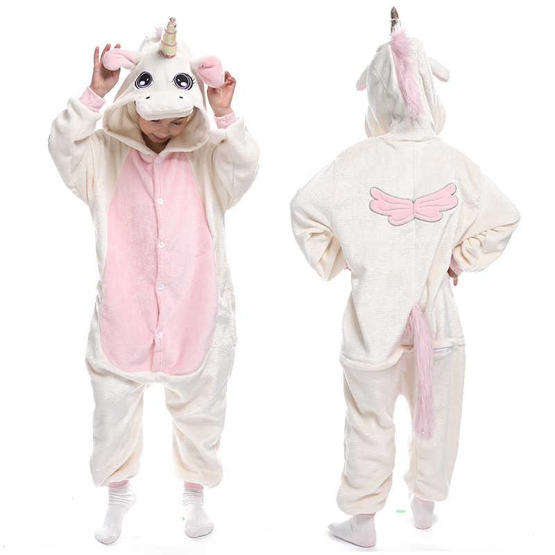 Kigurumi Pigiama Unicorn Per I Bambini Del Bambino dei Pigiami Delle Ragazze dei Ragazzi Degli Indumenti Da Notte Animale Lion Deer Licorne Tutina Bambini Costume Tuta