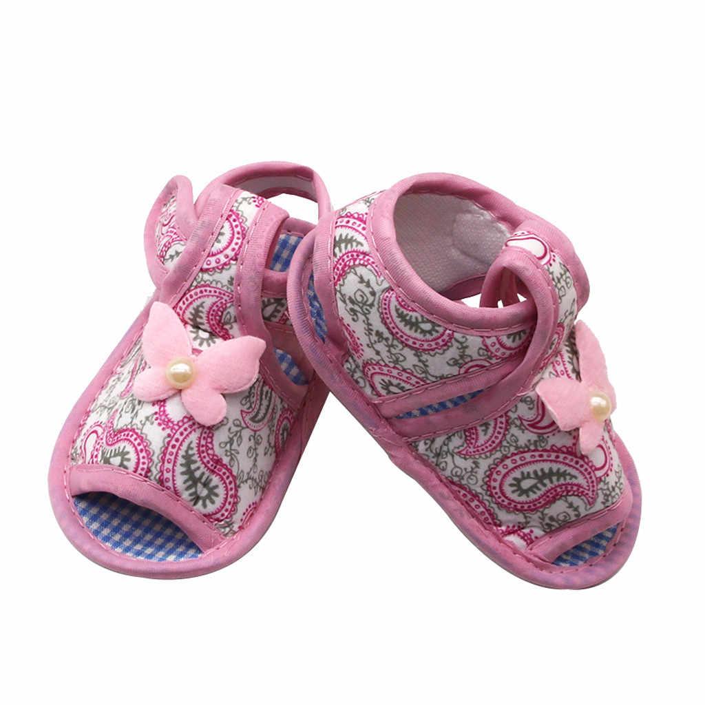 פעוט בנות סנדלי תינוק יילוד רך סוליות קיץ דירות נעלי תינוקת Kawaii רקום Sandalias Bebebs שמלת נעל