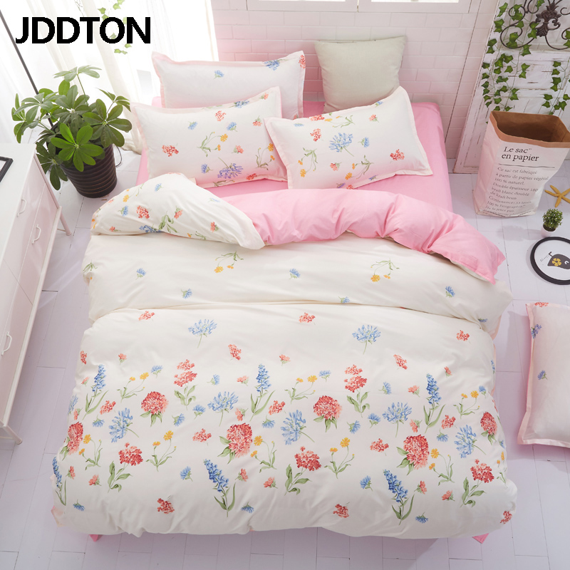 JDDTON 2020 New Fashion Bedding Sets Small Fresh Bed Linen Duvet Cover Pastoral Set AB Side Bed Sheet Set Pillowcase Cover BE109