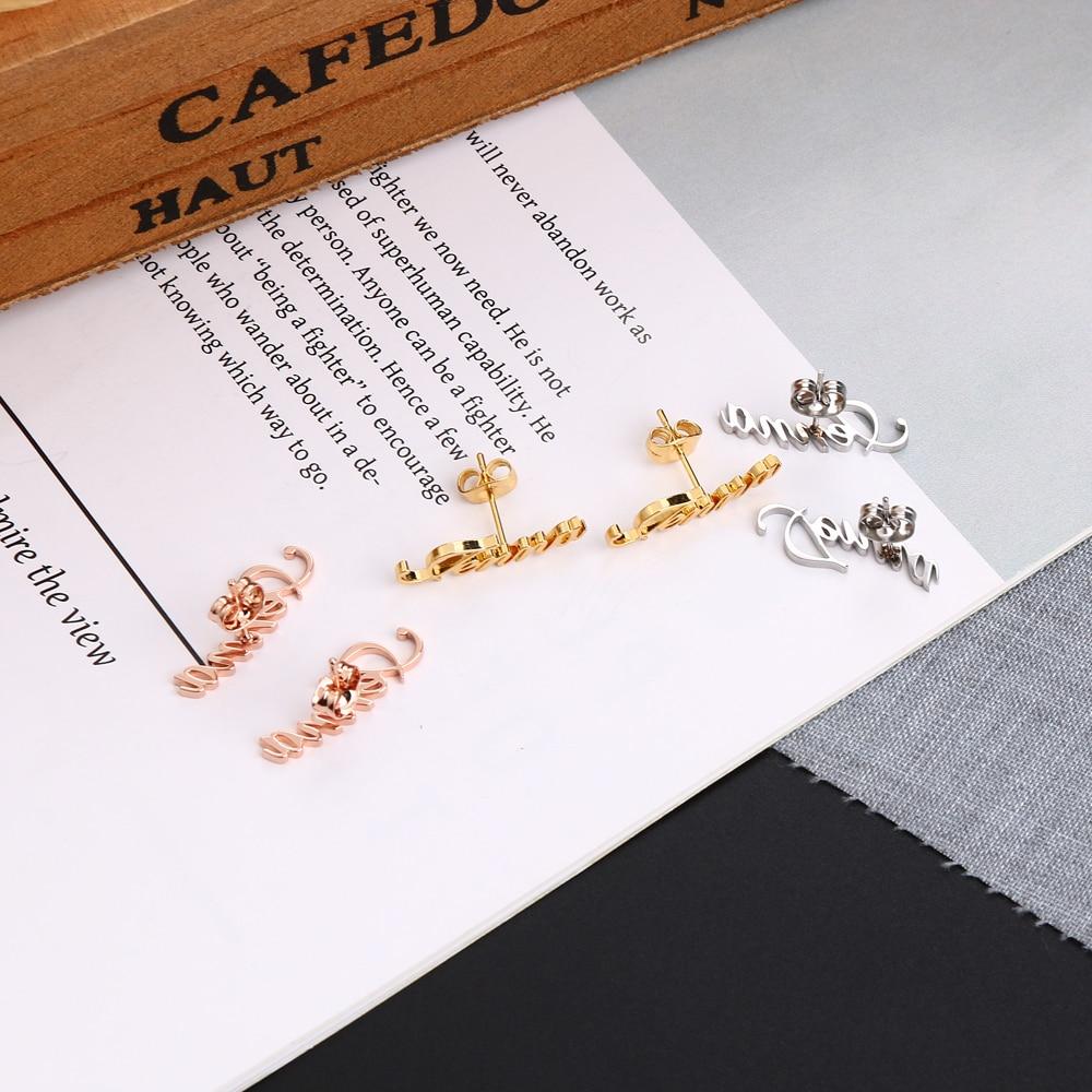 Купить 2020 lateefah серьги гвоздики с буквами на заказ ювелирные изделия
