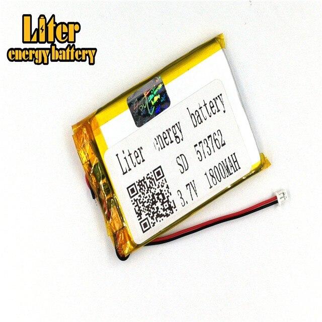 1,25 мм 2pin разъем 3,7 в 573762 1800 мАч аккумуляторная батарея lipo электронные книги карманный персональный компьютер с GPS рекреационные машины
