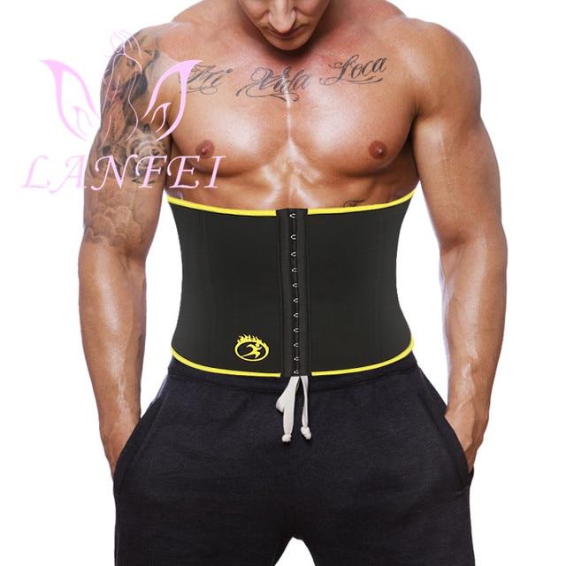 LANFEI Mens Body Shaper Modeling Strap Waist Trainer Cincher Slimming Belt Fajas Hot Neoprene Sweat Sauna Gym Weight Loss Corset
