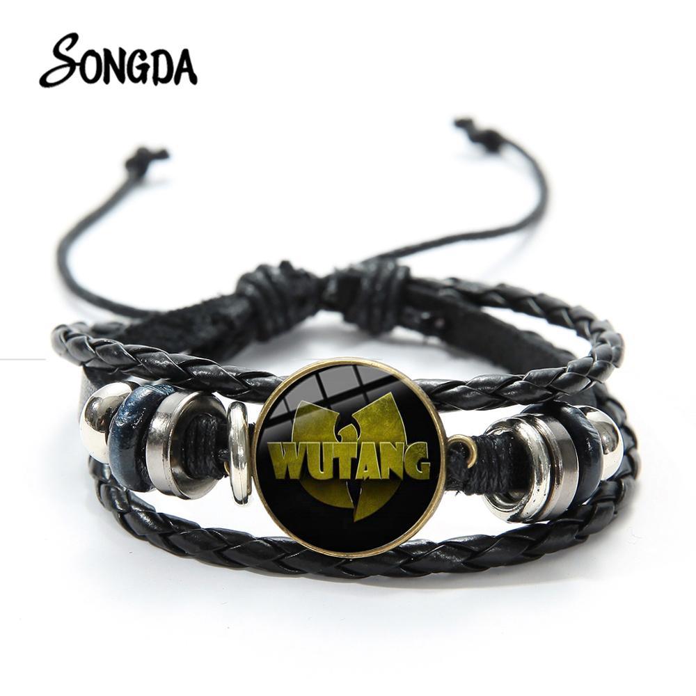 SONGDA Vintage WU TANG CLAN Logo Bracelet HIP-HOP Rap Band Print Glass Dome Woven Leather Bracelets Handmade Music Fans Jewelry