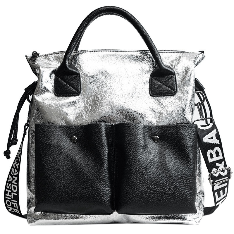 ABZC-Large Capacity Women Bags Fashion Shopping Bag Double Pocket Girl Casual Tote Young Lady Handbags Shoulder Bag Silver