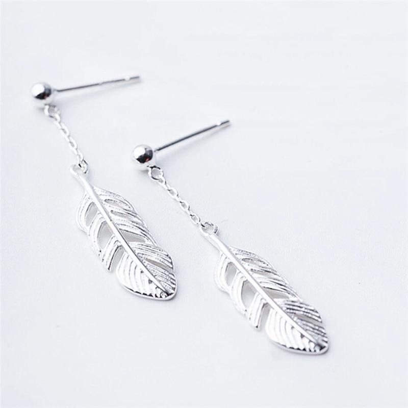 Korea Sweet Feather Short Creative 925 Sterling Silver Temperament Personality Trendy Female Dangle Earrings SEA119