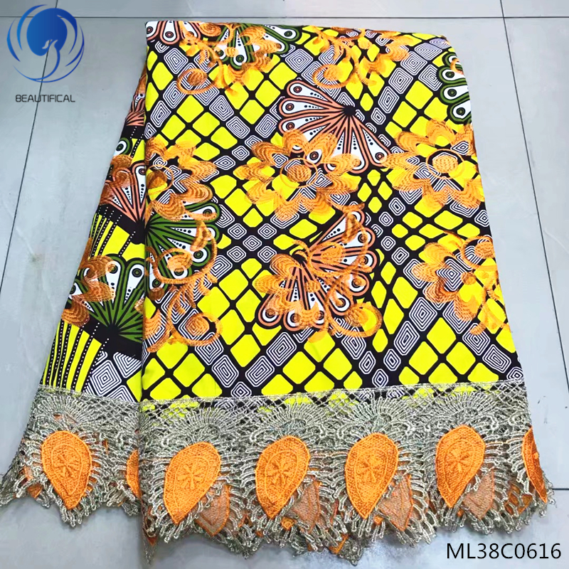 BEAUTIFICAL yellow wax fabric african ankara print 6 yards/lot with guipure cord lace online ML38C0613-23