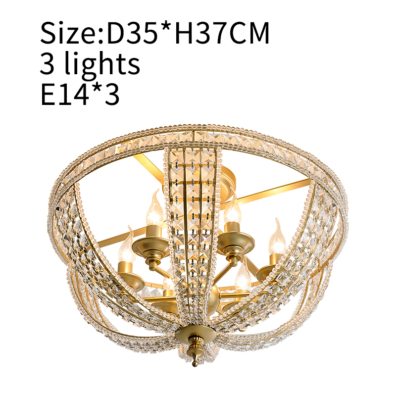 Luxury Gold Crystal Ceiling Lights For