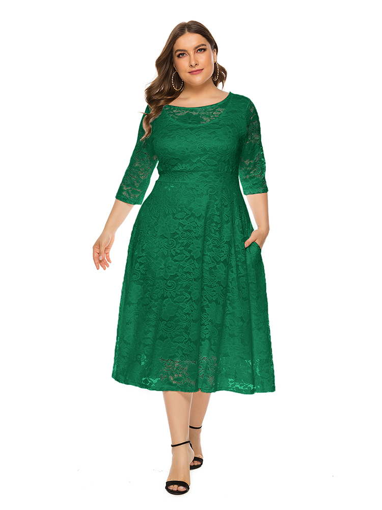Plus Size Lace Evening Dress A-line Tea-length Dress with Pockets for Party vestidos de fiesta de noche Half Sleeve Family Party