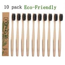 10 шт./компл. натуральный бамбук Зубная щётка мягкая щетина, древесный уголь квадратная деревянная ручка Зубная щётка es стоматологические инструменты для ухода за глазами