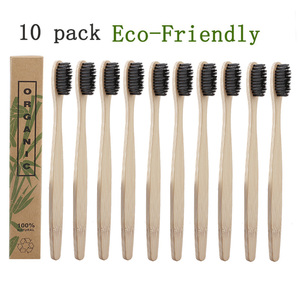 10pcs/Set Natural Pure Bamboo Toothbrush Soft-bristle Charcoal Square Wooden Handle Toothbrushes Dental Care Tools(China)